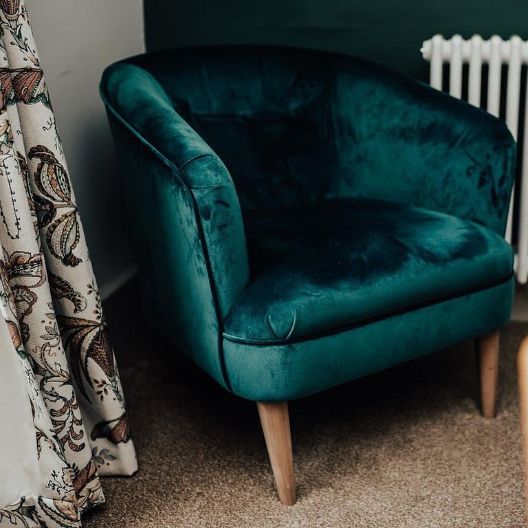 Green plush seat